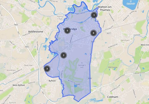 public order offences map september 2019 - Weybridge Crime